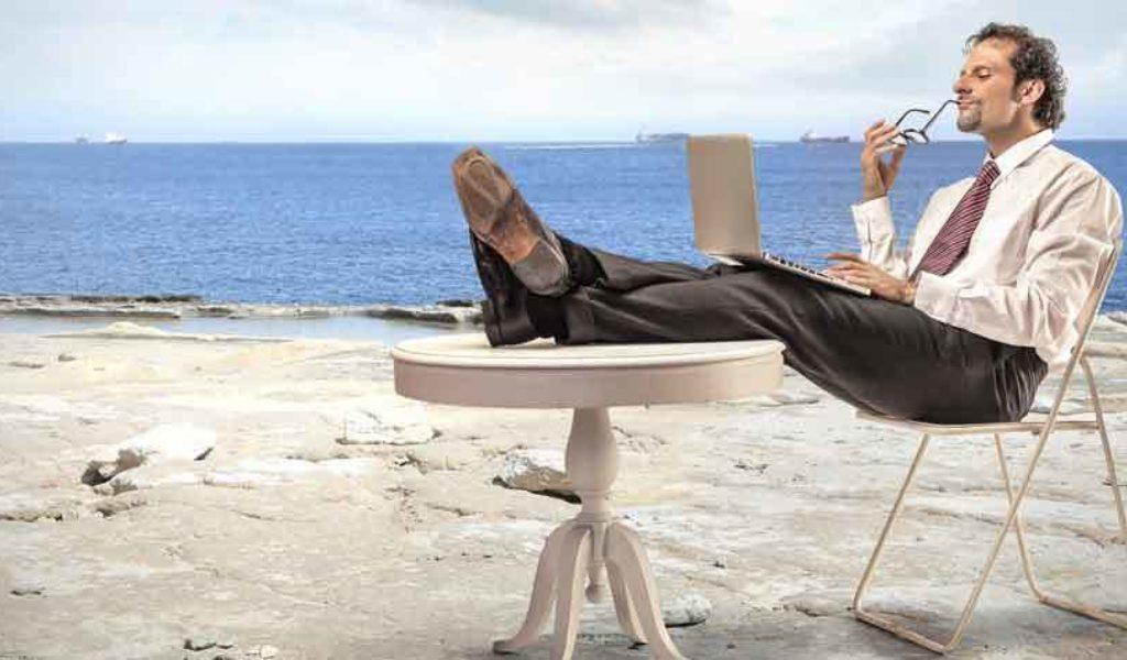 Summer beach businessman