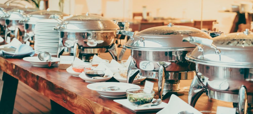 Serving dishes for a large scale catering event