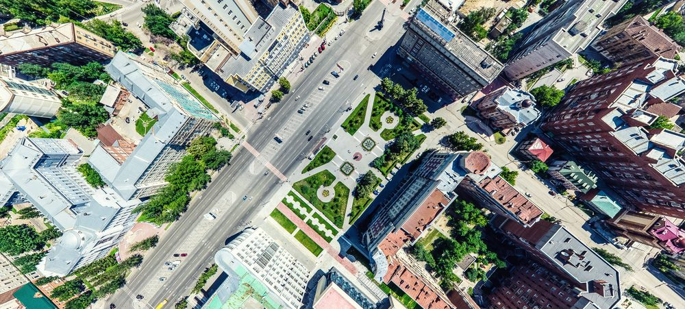 Eagle eye view of a city