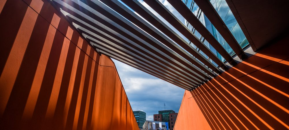 Abstract exterior of orange building